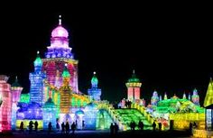 The Harbin Ice Festival, an annual wonder in Northeastern China.... an entire city of ice, lit from the inside by colored lights! Simply mind-boggling.