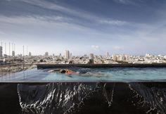 Attico con vista a Tel Aviv. Arredo contemporaneo, una ricca collezione di opere d'arte e una piscina a sfioro panoramica