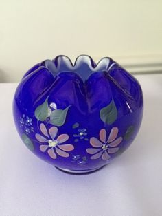 Fenton Rose Bowl Milk Glass with Cobalt Overlay by FrannieBee