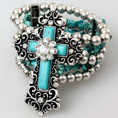 Turquoise & rhinestone western bracelet from Ropes & Rhinestones $17.99 matching pendant also available. http://www.ropesandrhinestones.com/turhstbr.html