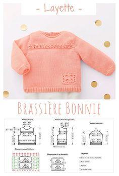 Une jolie brassière toute douce pour bébé dont la couleur Sorbet lui mettra du rose aux joues ! #tricot #layette