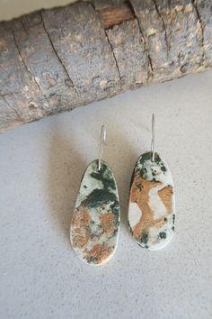 Medium Long, Ceramic Art, Jewelry Art, Ceramics, Drop Earrings, Sterling Silver, Ceramica, Pottery, Drop Earring