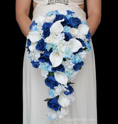 Royal Blue Wedding Flower Package cascading teardrop bouquet with royal blue roses, white hydrangea, light blue delphinium and calla lilies Modern Wedding Flowers, Floral Wedding, Wedding Colors, Perfect Wedding, Dream Wedding, Wedding Day, Summer Wedding, Budget Wedding, Wedding Planning