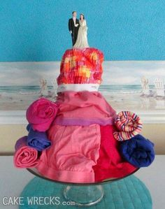 """this was pinned as """"panty wedding cake"""" 14th Birthday Cakes, Funny Birthday Cakes, Funny Cake, Wedding Cake Rustic, Wedding Cakes, Tacky Wedding, Ugly Cakes, Cake Wrecks, Crazy Cakes"""