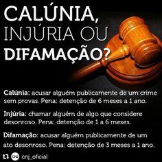 Não custa relembrar que são crimes! #Repost @cnj_oficial  Calúnia (art. 138) difamação (art. 139) e injúria (art. 140) são crimes! Para denunciar a ocorrência de calúnia injúria ou difamação a pessoa deve juntar as provas do fato e procurar um advogado para que ele apresente uma queixa-crime ao juízo criminal da sua cidade se houver ou ao juiz da comarca. #CNJ #justiça #calúnia #injúria #difamação # diferença http://ift.tt/2jI2Jj0