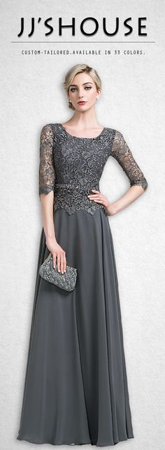 Make an elegant entrance in this chiffon lace mother of the bride/groom dress. #motherofthebridedress
