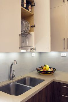 Delicieux Dish Drying Rack Hidden In A Cabinet Above The Sink   Dry And Store Your  Dishes