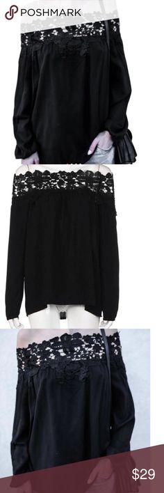 PRETTY Off Shoulder Top long Sleeve Fashion Black Lace Women Blouses Summer Off Shoulder Top Long Sleeve Shirt Women Boutique Tops Tees - Long Sleeve