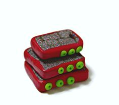 Handmade Polymer Clay Pendant in Hand Cut Square Shapes Red and Green by blancheandguy on Etsy