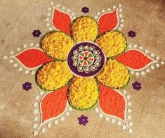 Quick and Easy Rangoli Ideas for Diwali 2019 you would love to copy from 22 Quick and Easy Rangoli Ideas for Diwali 2018 you would love to copy from Rangoli Designs Simple Diwali, Rangoli Designs Latest, Free Hand Rangoli Design, Small Rangoli Design, Colorful Rangoli Designs, Rangoli Ideas, Beautiful Rangoli Designs, Diwali Designs, Easy Diwali Rangoli