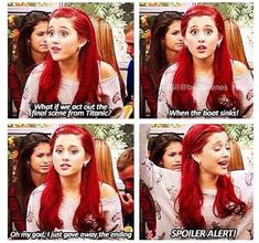 Ariana Grande in Victorious Victorious Nickelodeon, Icarly And Victorious, Cat From Victorious, Victorious Quotes, Titanic, Yolo, Drake And Josh, Funny Memes, Hilarious