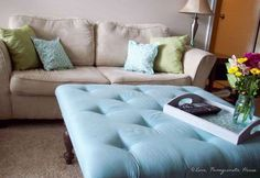 DIY Tufted Ottoman From A Coffee Table | Clever DIY Repurposed Furniture Ideas To Try This Summer