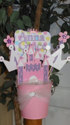 Princess place setting instead of placemates.  Could also use vinyl to put their name on the bucket