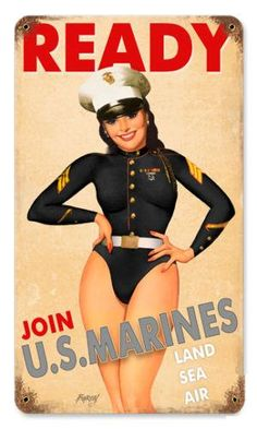 Marine Corps USMC Pin-up Girl Tin Metal Sign Reproduction - American Yesteryear Metal Signs