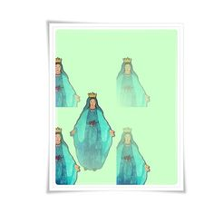 Modern Catholic Art Holy Mary Painting Art Poster Illustration Religious Meditation Decor Contemporary Blue Mint Teal