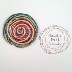 Muted Rainbow Multi Colored Spiral Textured Disc Bead by MarshaNealStudio