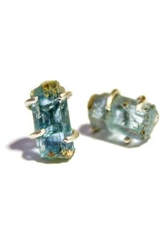 Rough cut aquamarine earrings