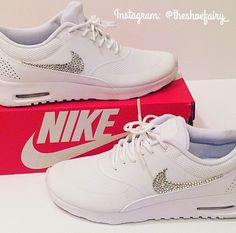 Custom Nike AIR MAX THEA with Over 150 Swarovski Elements BLING gift idea holiday gifts DIY - FOR SALE ----- email shoefairyofficial@gmail.com to purchase!