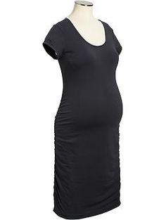 8675c2a097f4c Maternity Side-Shirred Jersey Dresses - in carbon or black