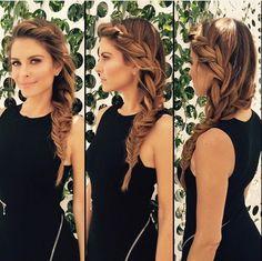 Bridesmaid hair, love the side braid.