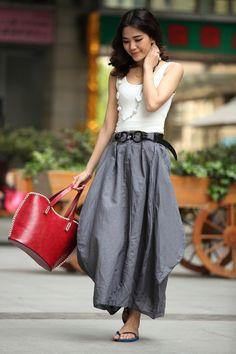 Cool Baggy Linen Maxi Skirt Black Skirt Summer Trendy Long Skirt Maxi Dress…