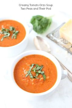 Creamy Tomato Orzo Soup made with Greek Yogurt from www.twopeasandtheirpod.com
