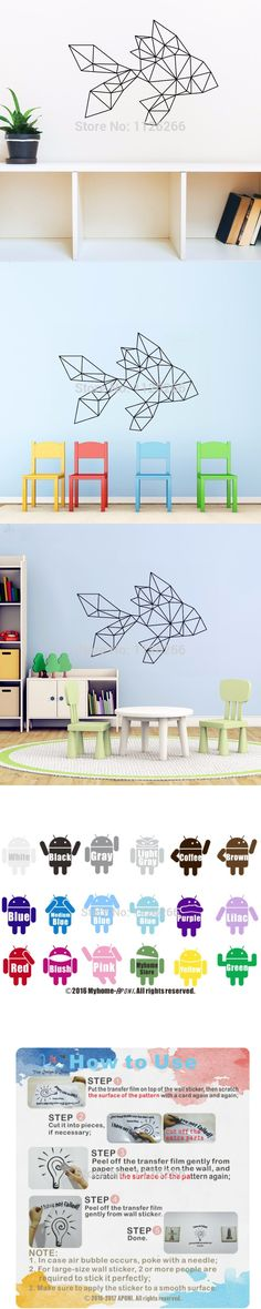 Geometric Vinyl Goldfish Wall Decal Removable Cartoon Wall Sticker Home Decor Art Mural for Living Room Kids Bedroom $5.99