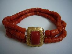 Antique Dutch Red Coral and Gold Bracelet