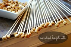 CANDIED HAZELNUTS. find out how to make gorgeous upside-down icicle-looking hazelnuts