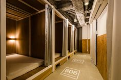 specially made bunk beds feature within bunka hostel tokyo where the interior aims to deter away from the cliché characteristics of japanese accommodation. Dream Home Design, House Design, Sleep Box, Hostels, Capsule Hotel, Tokyo Hotels, Japanese Interior, Dormitory, Design Furniture