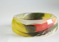 $80.00 Double amazon parrot feather eco resin faceted octagon large bangle