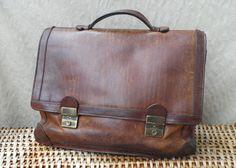 Vintage 1980's Aged Brown Leather Briefcase Hand Bag Satchel