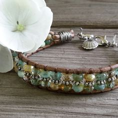 Hampton Bays Boho // Single Leather Wrap Bracelet by DeLucaArt