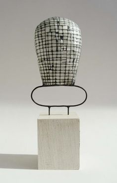 black and white - mixed media sculpture - Metal, Japanese paper, Archival glue - Jay Kelly