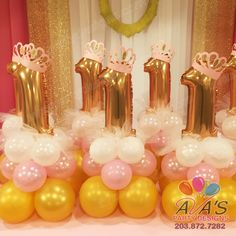 1st Birthday Princess Balloon Centerpieces. #PartyWithBalloons