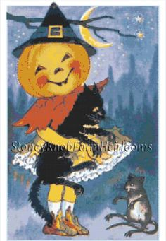 Little Girl, Black Cat, Mouse ~ Vintage Halloween ~ Counted Cross Stitch Pattern #StoneyKnobFarmHeirlooms #CountedCrossStitch