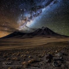 Atacama Desert  The Atacama Desert is considered the most arid and highest in the world. This combination makes it one of the best in the world to observe the night sky and celestial objects. In April 2016 I spent two weeks in the Atacama region in Chile and I was able to do night photographs in the main sights of the region. Despite being a very visited place during the night I was the only photographer to explore these beautiful landscapes. This panoramic image was made from two different…