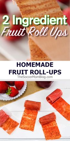 How to make your own fruit roll-ups with only 2 simple ingredients – strawberry fruit leather recipe with no added sugar! How to make your own fruit roll-ups with only 2 simple ingredients – strawberry fruit leather recipe with no added sugar! Fruit Roll Ups Homemade, Homemade Fruit Leather, Fruit Leather Recipe, Strawberry Roll Ups, Strawberry Fruit Leather, Strawberry Snacks, Fruit Recipes, Baby Food Recipes, Snack Recipes
