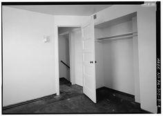 "UPSTAIRS BEDROOM, ORIGINAL LIGHT FIXTURE, CLOSET, AND DOOR, APARTMENT 15C. - Munhall Homesteads, Type ""X-2"", Longfellow Drive, Munhall, Allegheny County, PA"