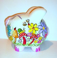 Piggy Bank Large Hand Painted Bugs Red Mushrooms Garden, Lady Bugs, Caterpillar, Humming Bird, Flowers, Personalized Bank, Child's Bank, Kid by SharonsCustomArtwork on Etsy