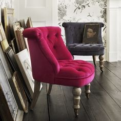 Charcoal velvet from Graham and Green. Love the shape. Perfect occasional chair.