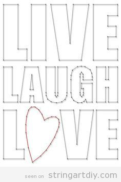 Live Laugh Love String Art free pattern to download