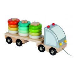 Flot og sej lastbil med stableringe - http://legefanten.dk/janod/21-janod-lastbil-med-stableringe.html