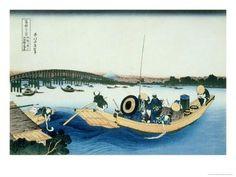 36 Views of Mount Fuji, no. 22: Sunset over the Ryogoku Bridge from the Sumida River at Onmayagashi Giclee Print by Katsushika Hokusai - at AllPosters.com.au