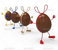 Easter Eggs Shows Gift Bow And Choc ...  bow, candy, chocolate, confectionery, decoration, easter eggs, gift ribbon, ribbon