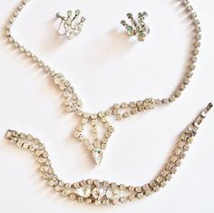 Necklace Earrings Bracelet Rhinestone Vintage Set Bride
