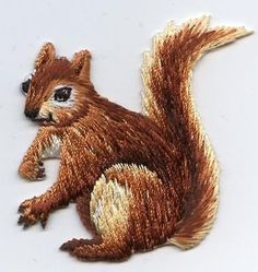 Iron-On Applique Embroidered Patch Natural Squirrel Facing Left