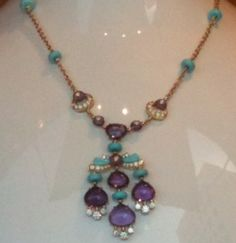 Amethyst, Turquoise and gold necklace, by Bulgari. (Union Square Window, San Francisco)