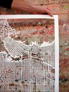 paper-cut maps or traced on glass with sharpie.....