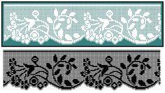 Kira crochet: Crocheted scheme no. Crochet Boarders, Crochet Lace Edging, Crochet Motifs, Crochet Stitches Patterns, Crochet Trim, Crochet Doilies, Beaded Cross Stitch, Cross Stitch Borders, Cross Stitch Patterns
